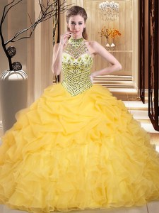 Halter Top Sleeveless Beading and Ruffles and Pick Ups Lace Up Quinceanera Dresses