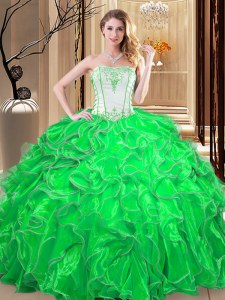 Custom Designed Green Sleeveless Embroidery and Ruffles Floor Length 15th Birthday Dress