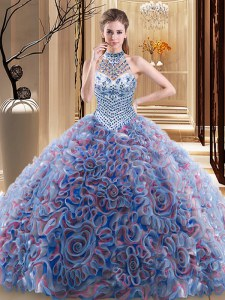 Discount Halter Top Sleeveless Brush Train Beading Lace Up Quinceanera Dresses