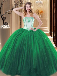 Flare Embroidery Sweet 16 Quinceanera Dress Green Lace Up Sleeveless Floor Length