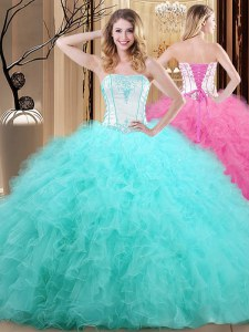 Enchanting Strapless Sleeveless Tulle Ball Gown Prom Dress Embroidery Lace Up
