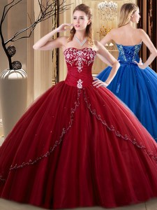 Stunning Wine Red Lace Up Sweetheart Embroidery Sweet 16 Dresses Tulle Sleeveless