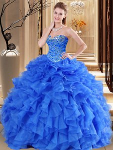 Dramatic Royal Blue Sweetheart Lace Up Beading and Ruffles Sweet 16 Dresses Sleeveless