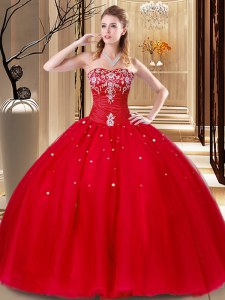 Colorful Sleeveless Floor Length Beading and Embroidery Lace Up 15th Birthday Dress with Red