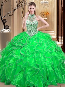Comfortable Ball Gowns Vestidos de Quinceanera Halter Top Organza Sleeveless Floor Length Lace Up