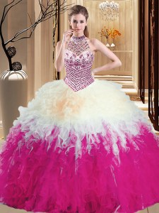 Fine Halter Top Multi-color Sleeveless Floor Length Beading and Ruffles Lace Up Quinceanera Dresses