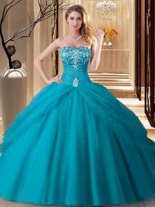 Traditional Tulle Sweetheart Sleeveless Lace Up Embroidery Quinceanera Gowns in Teal
