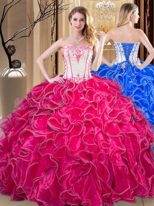 Exceptional Ball Gowns Vestidos de Quinceanera Coral Red Strapless Organza Sleeveless Floor Length Lace Up