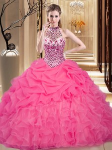 Exceptional Hot Pink Halter Top Neckline Beading and Ruffles and Pick Ups Sweet 16 Quinceanera Dress Sleeveless Lace Up