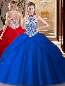 Super Tulle Halter Top Sleeveless Brush Train Lace Up Beading and Pick Ups Sweet 16 Dress in Royal Blue