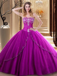 Clearance Fuchsia Sleeveless Floor Length Embroidery Lace Up Quince Ball Gowns