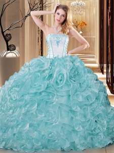 Ideal Sleeveless Embroidery and Ruffles Lace Up Vestidos de Quinceanera