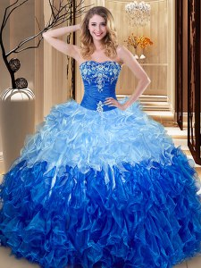 Floor Length Lace Up Sweet 16 Dresses Multi-color and Blue And White for Military Ball and Sweet 16 and Quinceanera with Embroidery and Ruffles