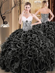 Sweetheart Sleeveless Organza 15 Quinceanera Dress Ruffles and Pattern Lace Up