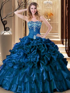 Extravagant Royal Blue Sleeveless Organza Lace Up 15 Quinceanera Dress for Military Ball and Sweet 16 and Quinceanera