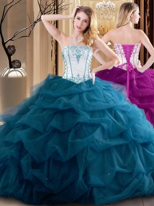 Sleeveless Tulle Floor Length Lace Up Quinceanera Gowns in Teal with Embroidery and Ruffled Layers