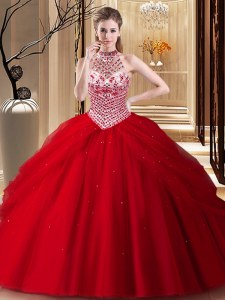 Halter Top With Train Lace Up 15th Birthday Dress Red for Military Ball and Sweet 16 and Quinceanera with Beading and Pick Ups Brush Train