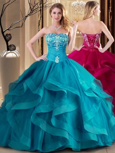 Exquisite Teal Lace Up Quinceanera Gowns Embroidery and Ruffles Sleeveless Floor Length
