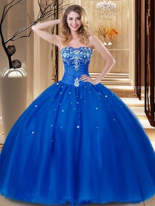 Suitable Floor Length Royal Blue Sweet 16 Dress Tulle Sleeveless Beading and Embroidery