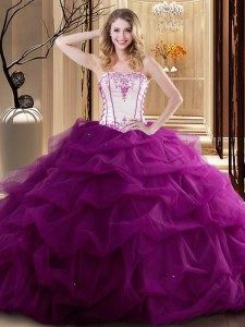 Strapless Sleeveless Sweet 16 Dresses Floor Length Embroidery and Ruffled Layers Fuchsia Tulle