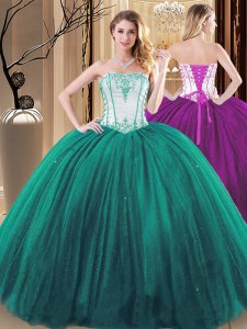 Tulle and Sequined Strapless Sleeveless Lace Up Embroidery Vestidos de Quinceanera in Green