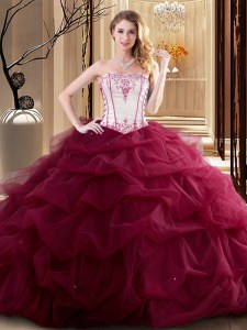 Modest Floor Length Wine Red Quince Ball Gowns Tulle Sleeveless Embroidery and Ruffled Layers