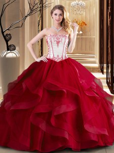 Wine Red Strapless Neckline Embroidery Vestidos de Quinceanera Sleeveless Lace Up