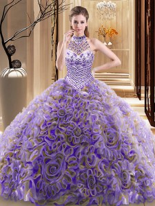 Halter Top Multi-color Ball Gowns Beading Sweet 16 Quinceanera Dress Lace Up Fabric With Rolling Flowers Sleeveless With Train