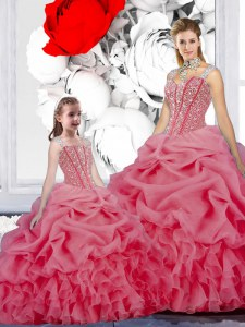Rose Pink Ball Gowns Organza Straps Sleeveless Beading and Ruffles and Pick Ups Floor Length Lace Up 15th Birthday Dress