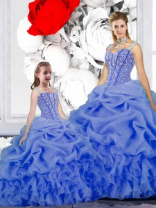 Beauteous Blue Sweet 16 Dress Military Ball and Sweet 16 and Quinceanera and For with Beading and Ruffles and Pick Ups Straps Sleeveless Lace Up