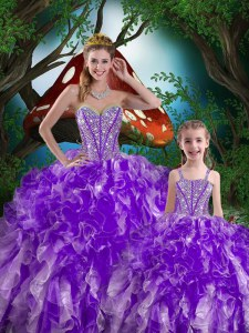 Sleeveless Organza Floor Length Lace Up Quinceanera Dresses in Eggplant Purple with Beading and Ruffles