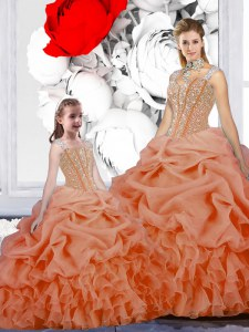 Straps Pick Ups Floor Length Ball Gowns Sleeveless Orange Sweet 16 Quinceanera Dress Lace Up
