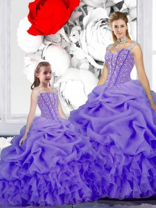 Lavender Straps Lace Up Beading and Ruffles and Pick Ups Sweet 16 Dresses Sleeveless