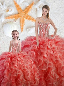 Dazzling Coral Red Ball Gowns Sweetheart Sleeveless Organza Floor Length Lace Up Beading and Ruffles Quinceanera Dress