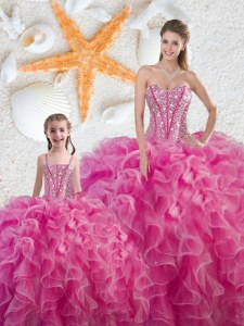 Comfortable Hot Pink Lace Up Quinceanera Dresses Beading and Ruffles Sleeveless Floor Length