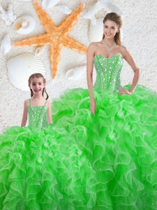 Sophisticated Sleeveless Beading and Ruffles Floor Length Sweet 16 Dresses