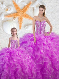 Flirting Fuchsia Lace Up Sweetheart Beading and Ruffles Quinceanera Gown Organza Sleeveless