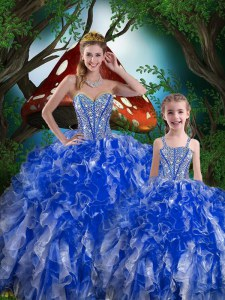 Navy Blue Quinceanera Gowns Military Ball and Sweet 16 and Quinceanera and For with Beading and Ruffles Sweetheart Sleeveless Lace Up