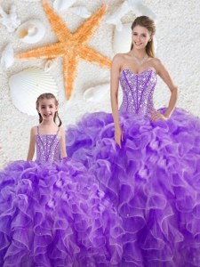 Perfect Sleeveless Beading and Ruffles Lace Up Quinceanera Gown