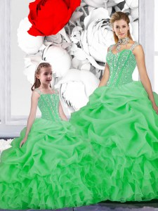 Artistic Straps Sleeveless Beading and Ruffles and Pick Ups Lace Up 15th Birthday Dress