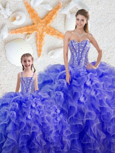 Sweetheart Sleeveless Lace Up Vestidos de Quinceanera Blue Organza
