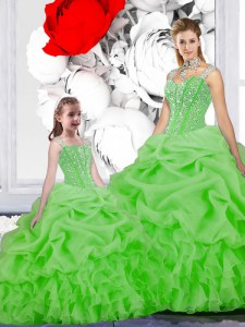 Clearance Straps Lace Up Beading and Ruffles and Pick Ups Vestidos de Quinceanera Sleeveless