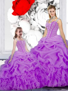 Noble Straps Purple Sleeveless Beading and Ruffles and Pick Ups Floor Length Vestidos de Quinceanera