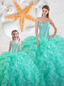 Sweetheart Sleeveless Sweet 16 Quinceanera Dress Floor Length Beading and Ruffles Turquoise Organza