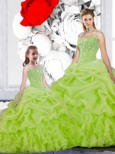 New Style Floor Length Yellow Green Quinceanera Dress Organza Sleeveless Beading and Ruffles and Pick Ups