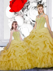 Yellow Quinceanera Gowns Military Ball and Sweet 16 and Quinceanera and For with Beading and Ruffles and Pick Ups Straps Sleeveless Lace Up