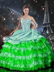 Wonderful Multi-color Sleeveless Organza Zipper 15th Birthday Dress for Military Ball and Sweet 16 and Quinceanera