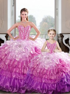 Luxurious Hot Pink Sleeveless Organza Lace Up Sweet 16 Quinceanera Dress for Military Ball and Sweet 16 and Quinceanera