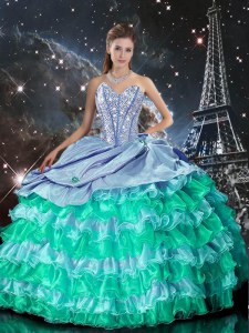 Glittering Multi-color Sleeveless Beading and Ruffles Floor Length Ball Gown Prom Dress