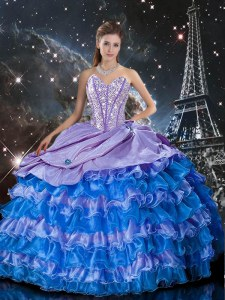 Sumptuous Multi-color Sweet 16 Quinceanera Dress Military Ball and Sweet 16 and Quinceanera and For with Beading and Ruffles Sweetheart Sleeveless Lace Up